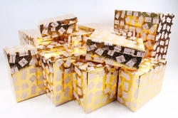 Набор подарочных коробок из 10шт - Прямоугольник НГ Подарки на золоте N36
