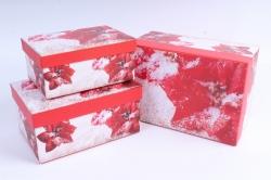 Набор подарочных коробок из 3шт - Прямоугольник НГ Пуансеттия в снегу  SY3367-1606NG