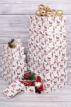 Набор подарочных коробок из 10шт - Прямоугольник НГ Щелкунчик 37*29*16см  N136