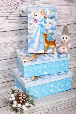 Набор подарочных коробок из 3шт - Прямоугольник НГ Снегурочка с оленем 23*16*9,5см  Пин74НГ-21-1