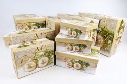 Набор подарочных коробок из 10шт - Прямоугольник НГ Золотые шары N33