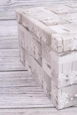 Набор подарочных коробок из 10шт - Прямоугольник НГ Звёзды и снежинки 37*29*16см  N134