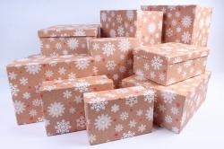 Набор подарочных коробок из 10шт - Прямоугольник НГ  Снежинки на крафте   SY605-1615NG