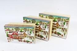 Набор подарочных коробок из 3шт - Прямоугольник Нов. Год Домик с санямис блестками N47