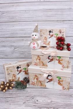Набор подарочных коробок из 4шт - Прямоугольник Нов. Год Музыканты Снеговики 22*15*11см N127