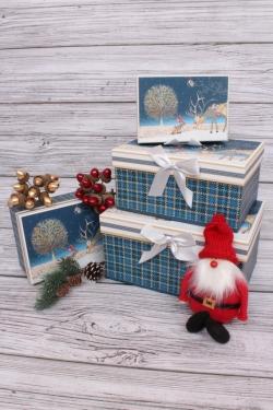Набор подарочных коробок из 4шт - Прямоугольник Нов. Год Сказочные звери 22*15*11см N126