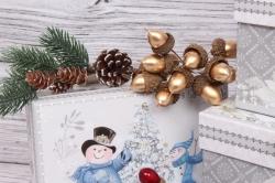 Набор подарочных коробок из 4шт - Прямоугольник Нов. Год Веселые Снеговики 22*15*11см N128