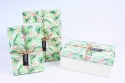 Набор подарочных коробок из 3шт - Прямоугольник Папортник R35