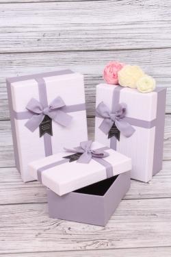 Набор подарочных коробок из 3шт - Прямоугольник пастель лиловый 21*15*9см  В440