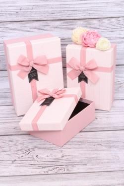 Набор подарочных коробок из 3шт - Прямоугольник пастель пудра 21*15*9см  В440