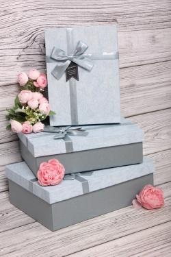 Набор подарочных коробок из 3шт - Прямоугольник патина голубой 28*20*9см  В722