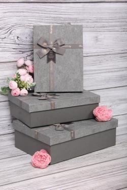 Набор подарочных коробок из 3шт - Прямоугольник патина серый 28*20*9см  В722