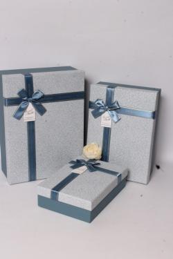 Набор подарочных коробок из 3шт - Прямоугольник Паутинка голубой 33*24*11см В619