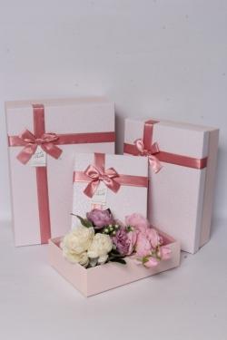 Набор подарочных коробок из 3шт - Прямоугольник Паутинка пудра 33*24*11см В619