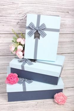 Набор подарочных коробок из 3шт - Прямоугольник перламутр голубой 28*20*9см  В723