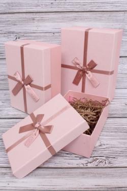 Набор подарочных коробок из 3шт - Прямоугольник перламутр розовый 22*15*9см  В191