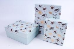 Набор подарочных коробок из 3шт - Прямоугольник Перламутровый Голубой