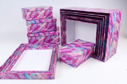"""Набор подарочных коробок из 10шт - Прямоугольник """"Перо Фламинго"""" SY7486-8"""