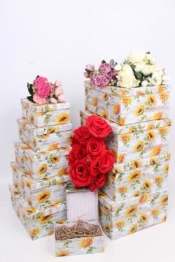 """Набор подарочных коробок из 10шт - Прямоугольник """"Подсолнухи"""" 37*29*16см SY605-1793"""