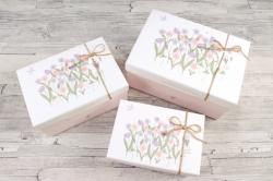 Набор подарочных коробок из 3шт - Прямоугольник Полевые Цветы  К729