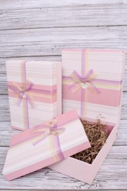 Набор подарочных коробок из 3шт - Прямоугольник полоски розовый 28*20*9см В193