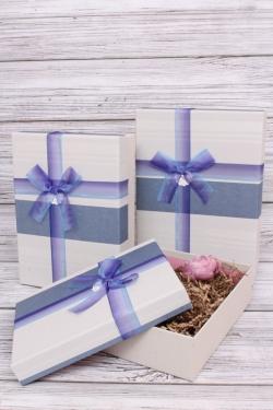 Набор подарочных коробок из 3шт - Прямоугольник полоски синий 28*20*9см В193