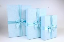 Набор подарочных коробок из 3шт - Прямоугольник рифленая клетка голубой  К816