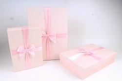 Набор подарочных коробок из 3шт - Прямоугольник рифленая клетка розовый  К816