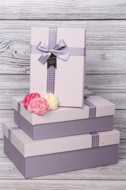 Набор подарочных коробок из 3шт - Прямоугольник рифленый лиловый 32*24*11см  В487