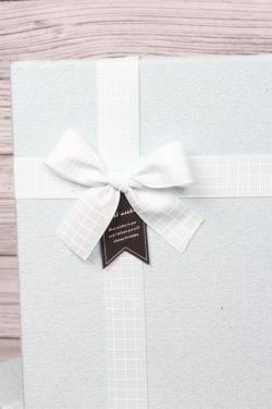 Набор подарочных коробок из 3шт - Прямоугольник рифленый серо/голубой 32*24*11см  В487