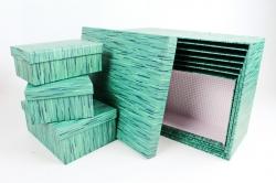 """Набор подарочных коробок из 10шт - Прямоугольник """"Рогожка тёмнозелёная"""" SY605-1559"""