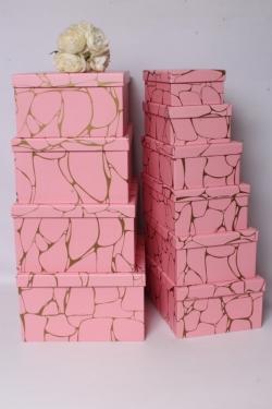 Набор подарочных коробок из 10шт - Прямоугольник розовые камни на золоте 37*28*16см К534