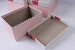 Набор подарочных коробок из 3шт - Прямоугольник розовый бант с сердцами 25*17*12см К747