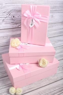 Набор подарочных коробок из 3шт - Прямоугольник Розовый с бантом 3 шт.33.5*25*11.5 MHA134012