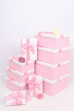 """Набор подарочных коробок из 10шт - Прямоугольник """"Розовый с бантом"""" 33х25*15см SY604-6710"""