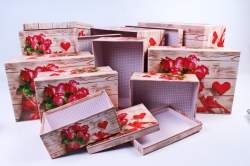 """Набор подарочных коробок из 10шт - Прямоугольник """"Розы и Сердце""""  SY605-1497"""