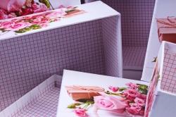 """Набор подарочных коробок из 10шт - Прямоугольник """"Розы Розовые""""  SY605-1498"""