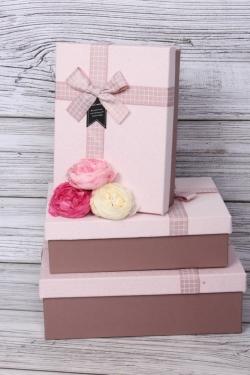 Набор подарочных коробок из 3шт - Прямоугольник с бантом клетка какао 29*21*9см В486