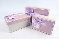 Набор подарочных коробок из 3шт - Прямоугольник с кантом лиловая крышка/серебро  К476