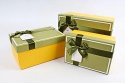 Набор подарочных коробок из 3шт - Прямоугольник с кантом оливка крышка/желтый  К476