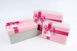 Набор подарочных коробок из 3шт - Прямоугольник с кантом розовая крышка/серебро  К476