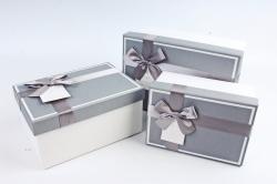 Набор подарочных коробок из 3шт - Прямоугольник с кантом серая крышка/белый К476