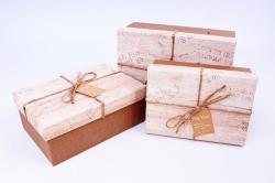 Набор подарочных коробок из 3шт - Прямоугольник с крышкой под дерево бежевый R31