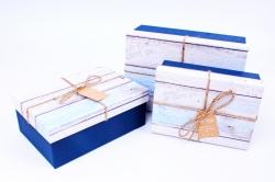 Набор подарочных коробок из 3шт - Прямоугольник с крышкой под дерево синий R31