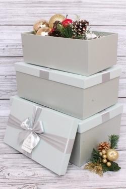 Набор подарочных коробок из 3шт - Прямоугольник с серебр. бантом голубой 31*20*13см К494