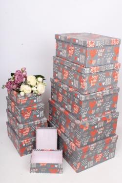 """Набор подарочных коробок из 10шт - Прямоугольник """"Сердца"""" 37*29*16см SY605-1781"""