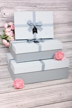 Набор подарочных коробок из 3шт - Прямоугольник Сердечки голубой 33*24*11см  В725