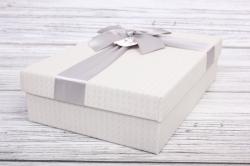Набор подарочных коробок из 3шт - Прямоугольник Серебро с  Бантом 3 шт.33.5*25*11.5 MHA134015