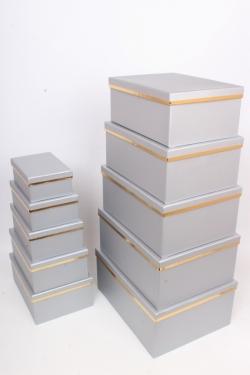 """Набор подарочных коробок из 10шт - Прямоугольник """"Серый с золотой полосой"""" 37*29*16см SY605-447"""