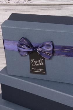 Набор подарочных коробок из 3шт - Прямоугольник синий 21*16*9см В491